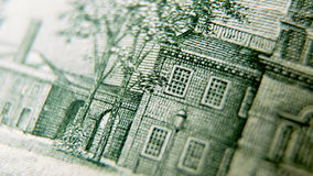 Macro close up of the US 100 dollar bill Stock Photo