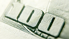 Macro close up of the US 100 dollar bill. Extreme macro. Shallow dof royalty free stock photography