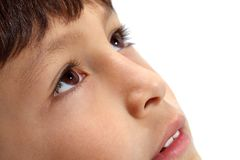 Macro close-up of young boy's eyes Stock Photos