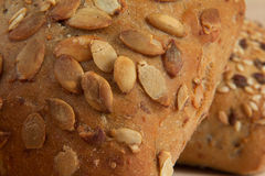 Macro/closeup of a dietetic bread with seeds Stock Photos