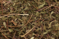 Macro closeup  of dried organic Peppermint (Mentha piperita). Macro closeup background texture of dried organic Peppermint (Mentha piperita) or mint leaves Royalty Free Stock Image