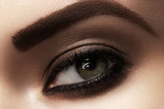 Macro closeup of female eye with fashion makeup, strong eyebrows. Cosmetics and beauty care. Macro close-up of beautiful green female eye with dark fashion smoky royalty free stock photos