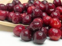 Macro a closeup of fresh cherries and sweet cherries Royalty Free Stock Photo