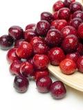 Macro a closeup of fresh cherries and sweet cherries Stock Photo