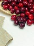 Macro a closeup of fresh cherries and sweet cherries Stock Photos