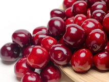 Macro a closeup of fresh cherries and sweet cherries Royalty Free Stock Photos