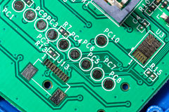 Macro closeup of a green PCB Board Royalty Free Stock Photos