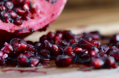 Macro closeup of pomegranate seeds. Stock Images