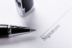 Macro closeup sign document contract pen filler Royalty Free Stock Photo