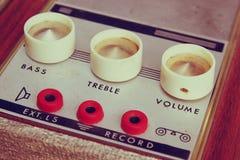 Macro closeup vintage Amplifier dials. retro filtered image. selective Focus Stock Photography