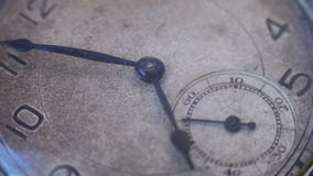Macro closeup of an vintage clock. Antique clock dial close-up. Vintage pocket watch,A macro closeup of an vintage clock.Old vintage clock mechanism watch time stock footage