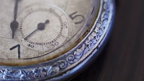 Macro closeup of an vintage clock. Vintage pocket watch.Antique clock dial close-up,A macro closeup of an vintage clock.Old vintage clock mechanism watch time stock video footage