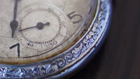 Macro closeup of an vintage clock. Vintage pocket watch.Antique clock dial close-up,A macro closeup of an vintage clock.Old vintage clock mechanism watch time stock video