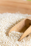 Macro closeup wooden spoon in the pile of sesame Royalty Free Stock Photography