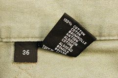 Macro of clothing - size 36. Size 36, 100% cotton stock images