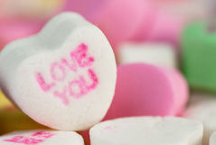 Macro coeur d'amour de sucrerie Photo stock