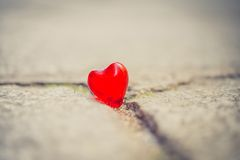 Macro coeur rouge sur un mur de crème de vintage Photos libres de droits