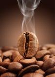 Macro coffee bean with smoke on brown background. Closeup coffee bean with smoke on brown background Royalty Free Stock Photos