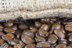Macro of Coffee Beans and Bag Stock Image