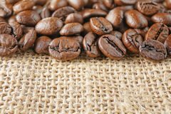Macro coffee beans juta Stock Photography