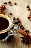 Macro coffee close up view on kitchen wood background Royalty Free Stock Photography