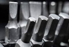 Macro Collection Of Phillips, Torx, Star And Slotted Bits 3 Royalty Free Stock Photography