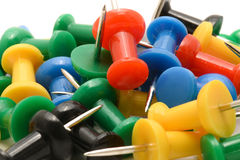 Macro of colorful push pins Royalty Free Stock Photo