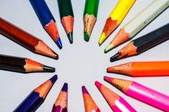 Macro colorido dos lápis tiro-abstrato fotografia de stock royalty free