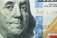 Macro colpo dei 100 dollari Fotografie Stock Libere da Diritti