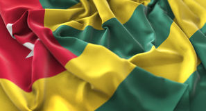 Macro colpo del primo piano di Togo Flag Ruffled Beautifully Waving Immagini Stock