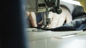 Macro colpo del processo di cucito del rivestimento maschio con la macchina per cucire 4K stock footage