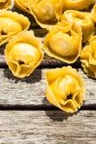 Macro colpo della pasta dei tortellini Fotografia Stock Libera da Diritti