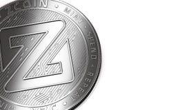 Macro colpo dello spazio d'argento della copia e di Zcoin illustrazione vettoriale
