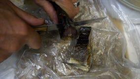 Macro colpo di affettatura del salmone con un coltello tagliente un grande spuntino a birra video d archivio