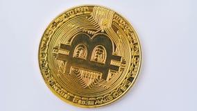 Macro colpo di bitcoin dorato che gira sul fondo bianco 4K video d archivio