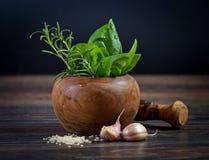 Macro composition of Italian cooking ingredients, garlic, rosema Stock Photos