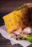 Macro composition of Italian cooking ingredients, garlic, rosema Stock Images