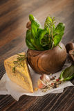 Macro composition of Italian cooking ingredients, garlic, rosema Royalty Free Stock Images
