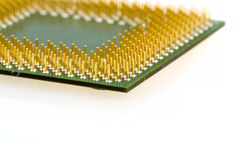 Macro of computer processor isolated Stock Photo