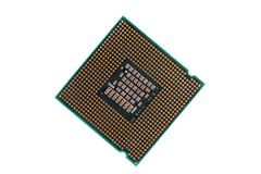 Macro of a computer's processor detail. Isolated on a white background Stock Images