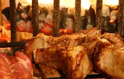 Macro of cooked meat on the barbecue on the fileplace Royalty Free Stock Images