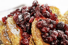 Macro of Cranberry Sauce over French Toast Stock Photography