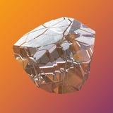 Macro cristalina colorida asombrosa del primer del racimo de Diamond Quartz Rainbow Flame Blue Aqua Aura en el fondo anaranjado v Fotografía de archivo