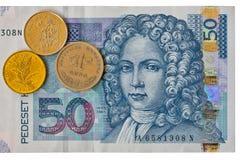 Macro croata isolado, parte anterior da cédula de Kuna da nota 50 da moeda Imagem de Stock