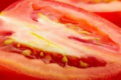 Macro of Cut Tomato. Macro of a cut San Marzano Tomato Stock Images