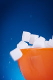 Macro détail des cubes en sucre Photo libre de droits