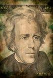 Macro d'Andrew Jackson sur le style grunge de vintage de billet de banque du dollar des dix Etats-Unis Photographie stock libre de droits