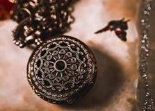 Macro d'annata dell'orologio da tasca Fotografia Stock