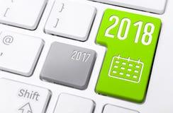Macro d'un clavier avec les boutons 2018 et 2017 Images stock
