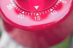 Macro d'une minuterie d'oeufs de cuisine - 15 minutes Images stock
